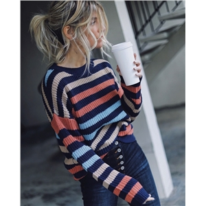 Women's striped stitching personality net red sweater sweater