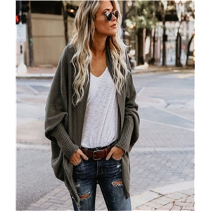 Batwing Sleeves Solid Casual Sweater Cardigan1