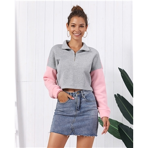 Autumn and winter color matching lupu navel short fleece sweater long-sleeved shirt