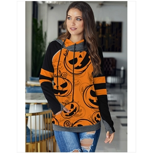 Orange Winter Halloween Pumpkin Print Long Sleeve Joker Top Outer Hoodie