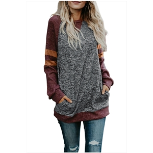 Stitching round neck contrast straight long-sleeved women's sweater