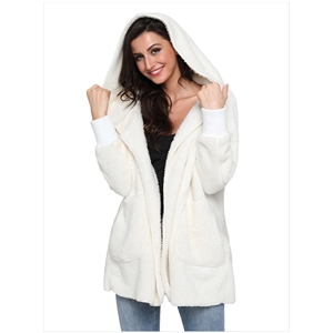 White fluffy hooded long coat coat cardigan