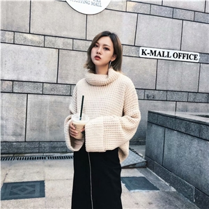 2019 autumn and winter models Europe and America lazy wind thick half-high collar loose curling knit pullover sweater women