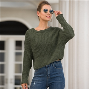 Women's long-sleeved headband round neck exposed autumn and winter sweater
