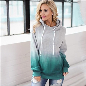 Autumn and winter fashion print hooded pocket women's sweater