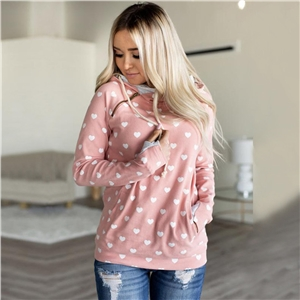 Autumn and winter love print tie pocket hooded women's sweater