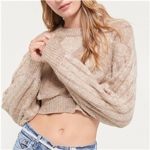 Apricot round neck long sleeve women's sweater sweater