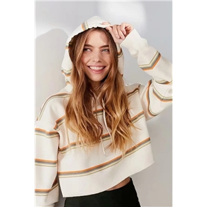 Comfortable striped hooded short women's sweater