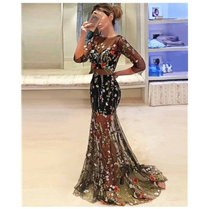 Black sexy deep V sleeves embroidered Slim backless big swing skirt prom dress long skirt
