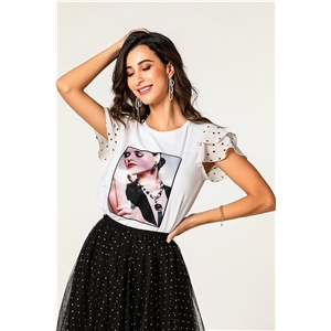 White ruffled sleeves beauty avatar print top T-shirt