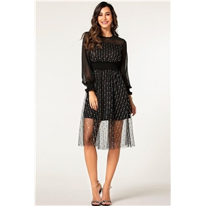 Black sexy perspective stitching long trumpet sleeve mesh long dress