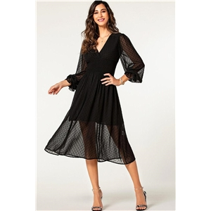 Black V-neck lace waist openwork lantern sleeve dress