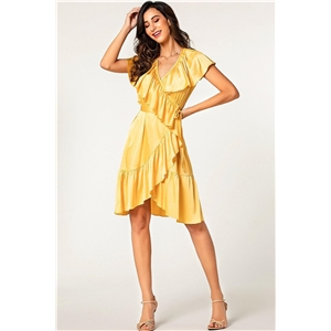 Yellow ruffled V-neck sexy solid color irregular short dress