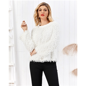 White velvet women's pullover knit sweater