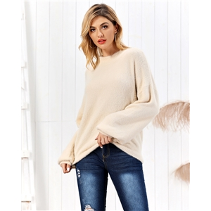 Apricot high collar lantern sleeves imitation mane pullover women's sweater