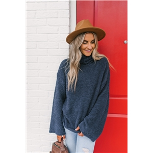 Royal Blue Loose Turtleneck Long Sleeve Knit Sweater