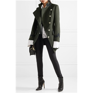 Standing collar military wind side single-breasted slim silhouette army green women's wool coat coat