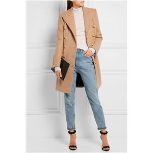 Autumn and winter models European and American classic military style wind lapel double-breasted Slim long women's coat jacket