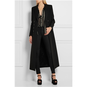 Black fashion classic simple double-breasted super long slim coat super long coat women's jacket