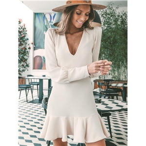Winter apricot V-neck long-sleeved ruffled women's dress