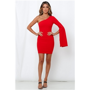 Red sexy tight-fitting hip-shouldered women's dress