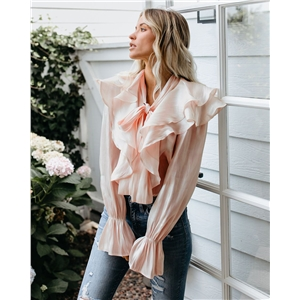 Pink Butterfly Ruffled Long Sleeve Blouse