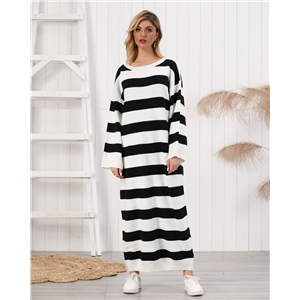 Black and white striped long padded women's sweater dress