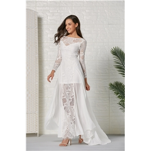 White chiffon lace stitching dress long dress light wedding light dress