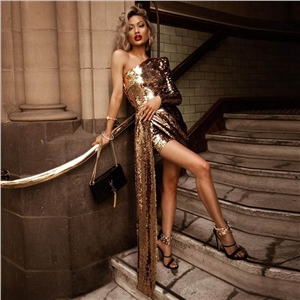 Gold Sexy One Shoulder Sequin Slim Dress