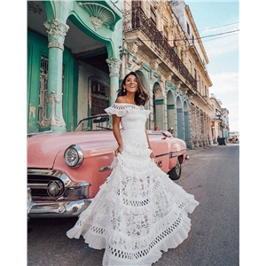 White one-shoulder ruffled openwork lace dress