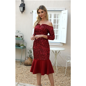 Burgundy V-neck sequined skinny dress slim dress