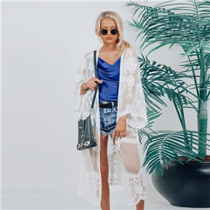 White Lace Cape Jacket Loose Lace Long Shirt Bikini Blouse