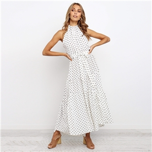 Sleeveless mid-length lace polka dot dress