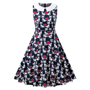 Cotton cat print doll collar A-line skirt retro dress