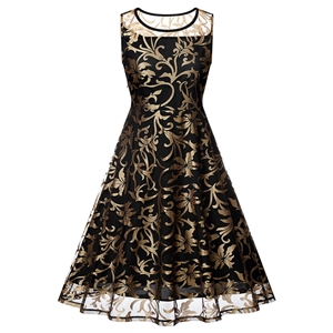 Gold print sleeveless round neck dress
