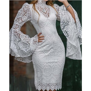 White lace embroidered trumpet sleeve dress slim banquet evening dress