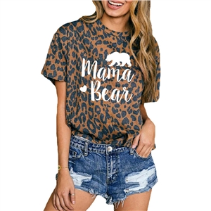 Leopard mama bear letter printed round neck short sleeve t-shirt