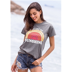 You Are My Sunshine letter printed round neck short sleeve t-shirt