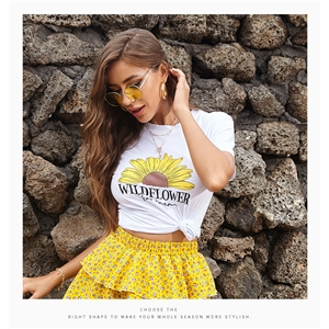 Round neck casual loose small daisy t-shirt women printed short sleeves