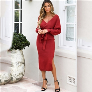 Solid color fashion V-neck lace-up sweater knitted dress