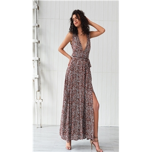 Bohemian rayon printed holiday style swing dress and long dress