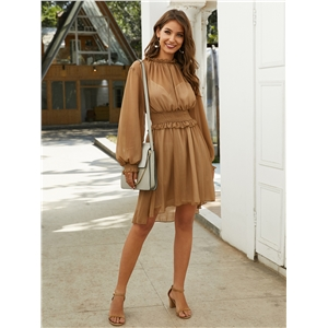 Brown Chiffon Two Piece Long Sleeve Dress