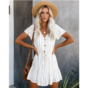 White striped V-neck print chiffon dress