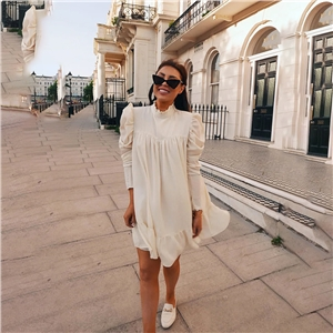 Solid color long sleeve stand collar pleated casual dress