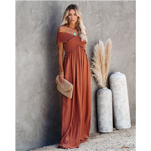 Bohemian plain color mop dress maxi dress
