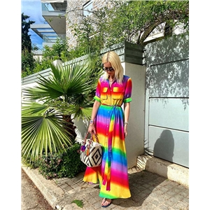 Rainbow Color Sleeve Lace Casual Dress Long Skirt