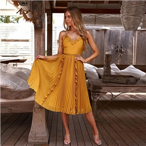 Solid color sexy V-neck strap pleated dress skirt