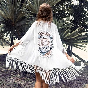 Slub cotton hollow big sunscreen shirt loose bikini outside cardigan beach blouse