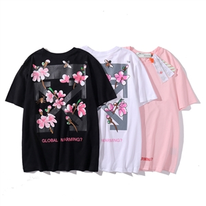 OFF WHIE Cherry Blossom Arrow Print Cotton Women's Casual Short Sleeve T-Shirt