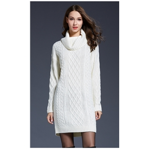 Solid color long turtleneck women's sweater dress sweater
